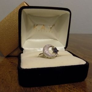 Moon and Star Ring Diamond Sapphire Kay Jewelers